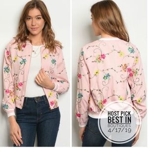 ONLY ONE LEFT! Lightweight Floral Bomber Jacket